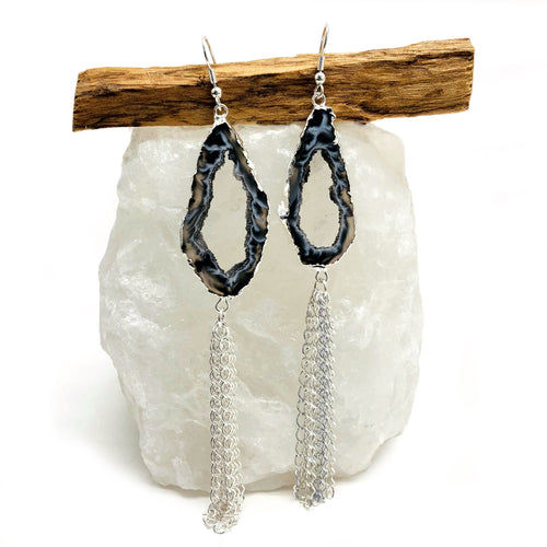 Agate Geode Slice Dangle Earrings (RP5045)
