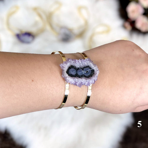 Amethyst Stalactite Cuff Bracelet 24k Gold Electroplated YOU CHOOSE (RK195B8-06)