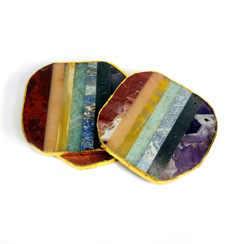 Seven Chakra Coasters with Electroplated 24k Gold Edge (HW5-H)