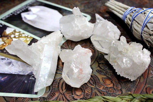 5 Pc Crystal Cluster In Bag Of 5 Pieces - Energy Brazilian Crystal Cluster - Crystal Grid, Art Projects - Wire Wrap - Meditation (RK30B1b)