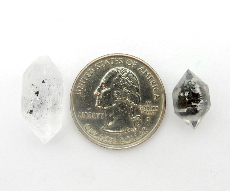 5 Tiny Tibetan Crystal Quartz Double Terminated Points - 5 Crystals  (RK35B2)