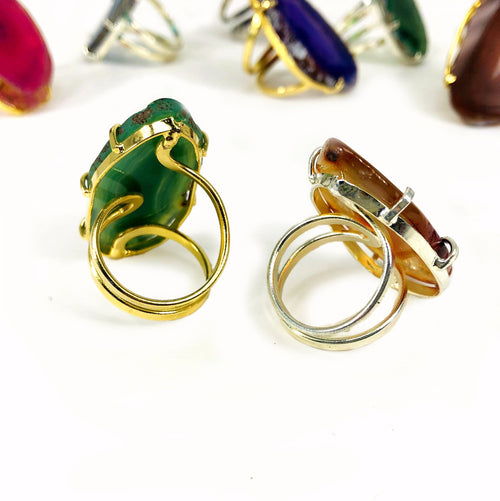 Agate Adjustable Rings in Electroplated 24k Gold/Silver Band (R3BOX5)