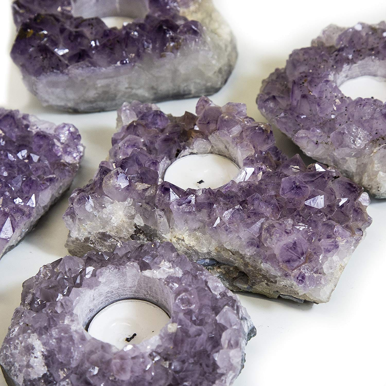 Natural Mineral Candle Holder AMETHYST INNER PEACE