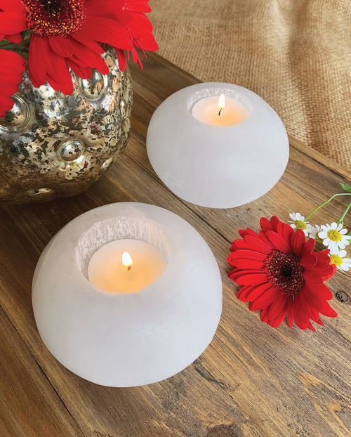 Selenite Sphere Candle Holder (RK805B12)