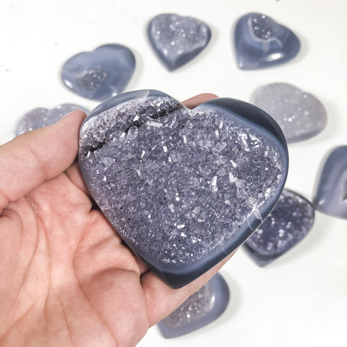 Agate Hearts - Large Medium and Small Druzy Hearts