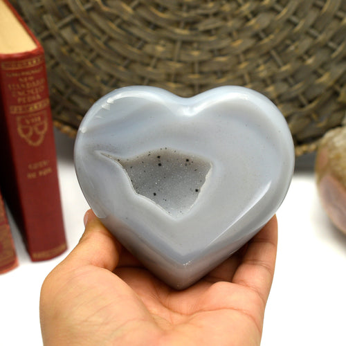 Natural Agate Druzy Heart -OOAK- (GD9-21)