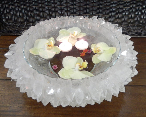 Crystal Point Bowl - Custom Handmade with Natural Stones - YOU CHOOSE Amethyst or Crystal Quartz - Home Decor