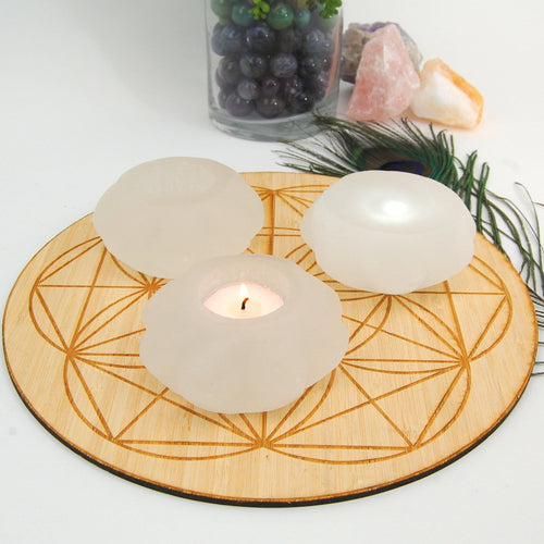 Selenite Rose Candle Holder - Stone Votive (RK805B11)