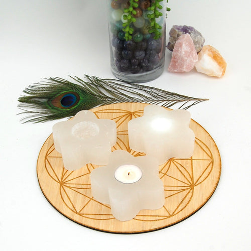 Selenite Flower Candle Holder - Stone Votive (RK805B10)