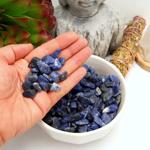 Blue Sodalite Tumbled Small Gemstones - 1 lb Bag Polished Stones