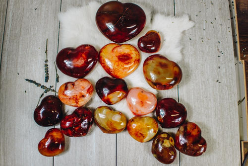 Carnelian Heart Shaped Stone - Choose Your Size - Chakra - Metaphysical - Reiki (RK140)