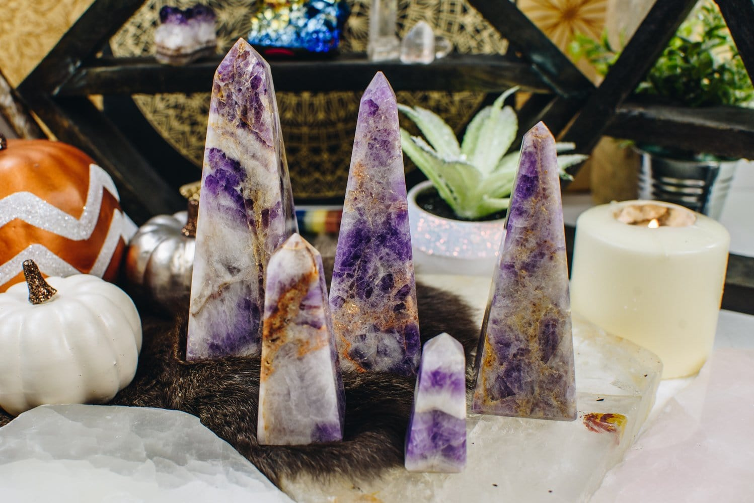 Amethyst Chevron Obelisks - By Weight (RK139)
