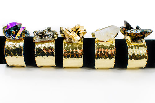 Mystic Crystal Cluster Cuff Bracelet with 24k Gold Electroplated Textured Band (RK195)