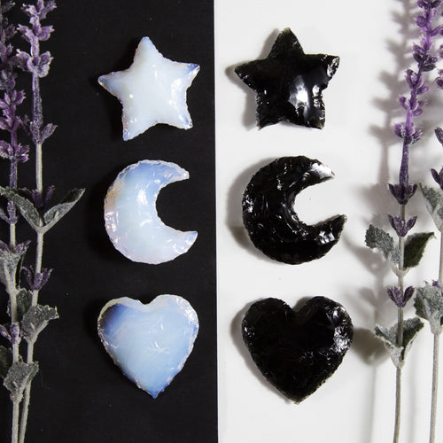 Opalite and Obsidian Heart Moon and Star Shaped Cabochon