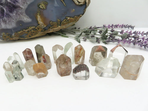 Phantom Quartz - Crystal Quartz Mini Cut Base with Inclusions (RK147B10)