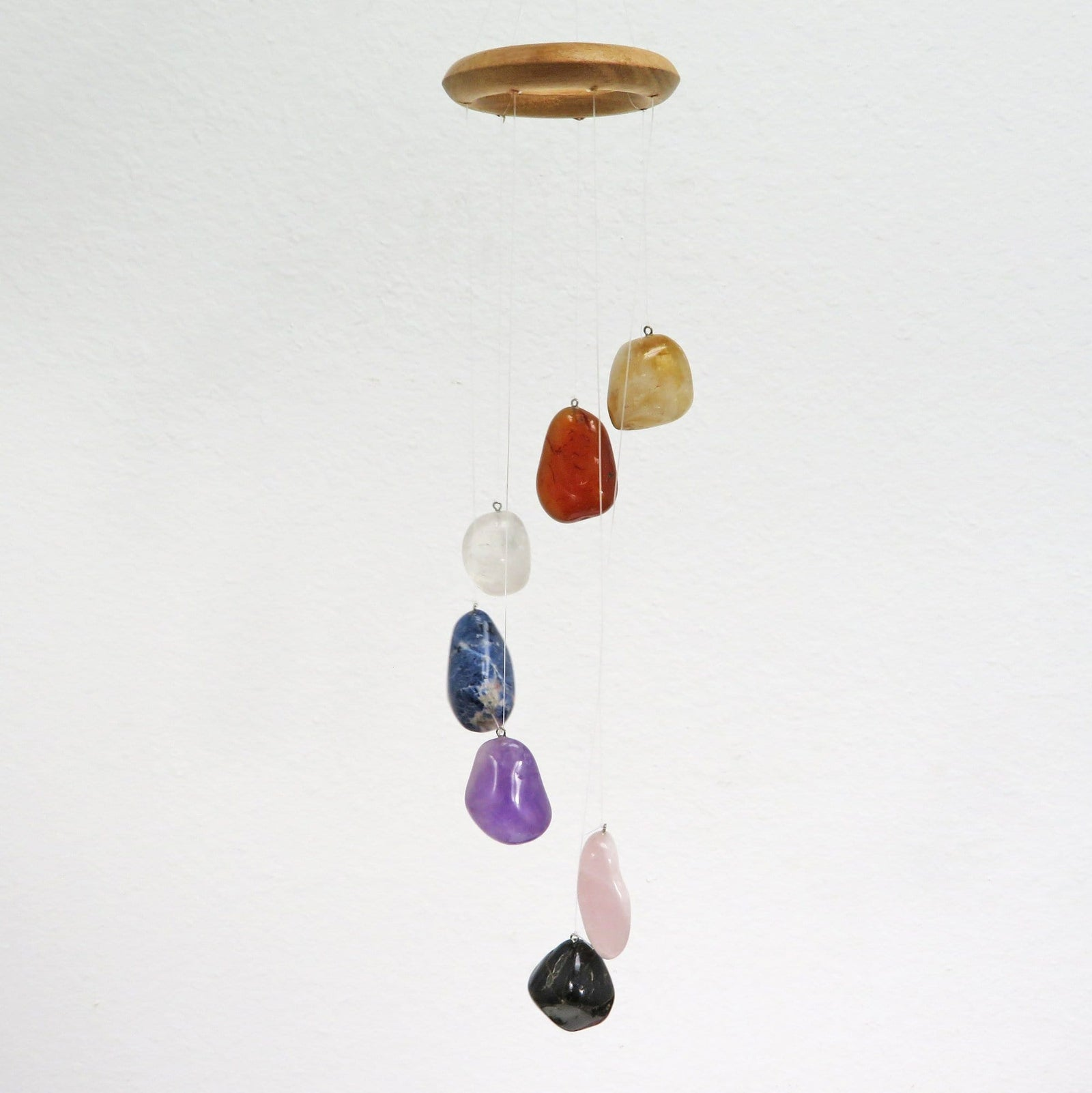Chakra Stone Wind Chimes Polished Stones - Home Decór - Spiritual Gift - Crystal Collection (OB1B11)