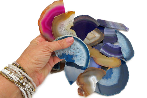 Assorted Agate Slices Large Broken Pieces - Mixed Colors - Assorted Colors 1 Pound Sets (BD6-02)