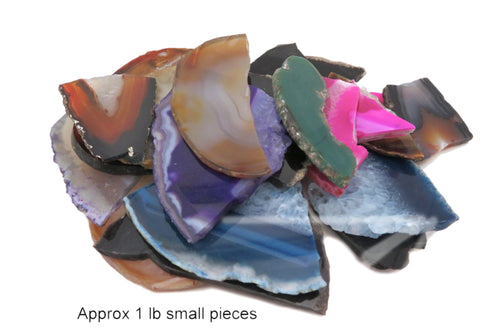 Assorted Agate Slices Small Broken Pieces - Mixed Colors - Assorted Colors 1 Pound Sets (BD6-01)