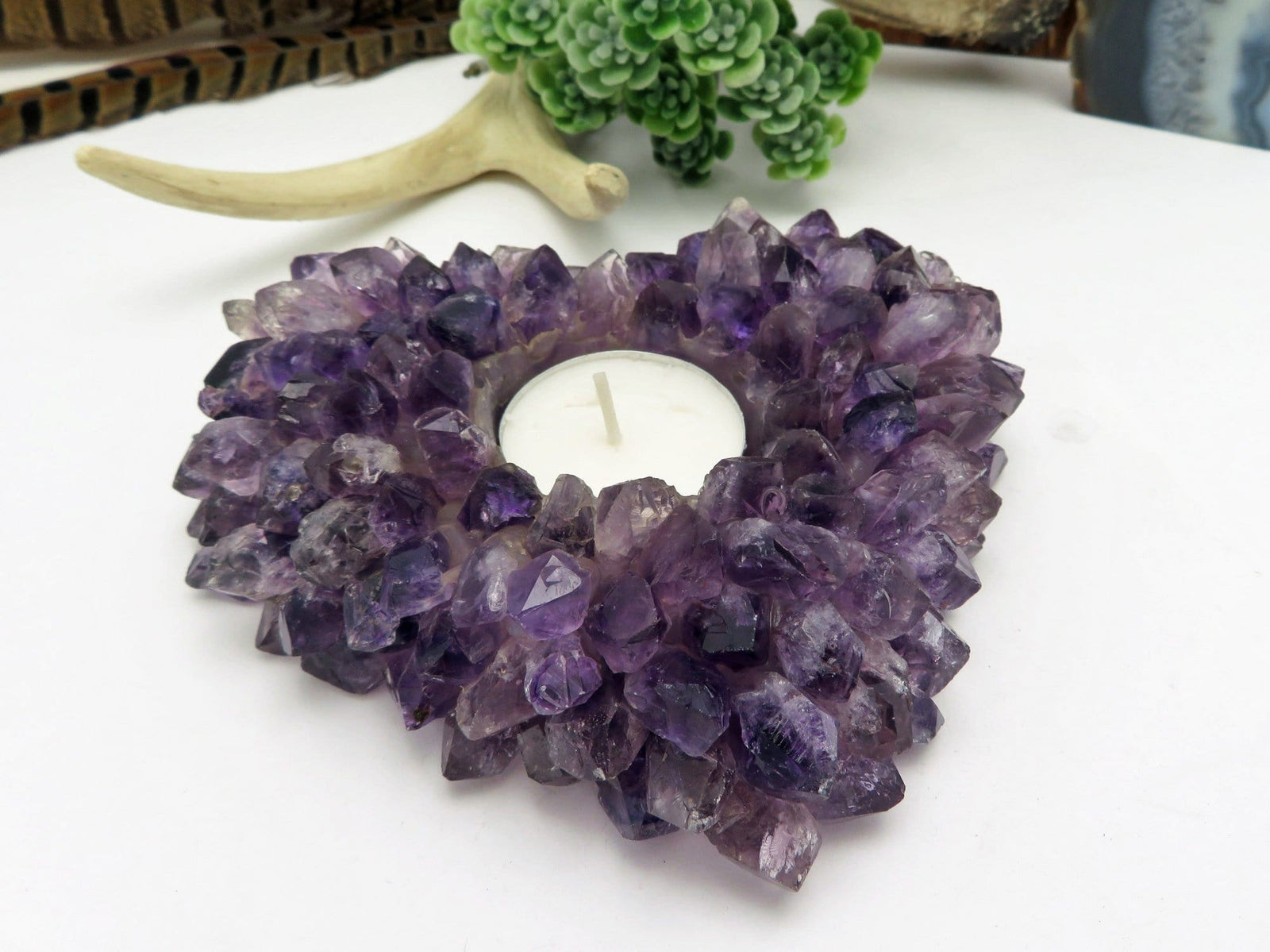 Amethyst Point Candle Holder Heart Shape - Crystal Decor- Metaphysical - Chakra Crystals (HW4-48)