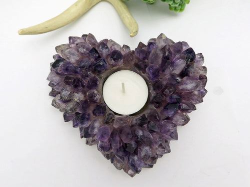 Amethyst Point Candle Holder Heart Shape (HW2-27)