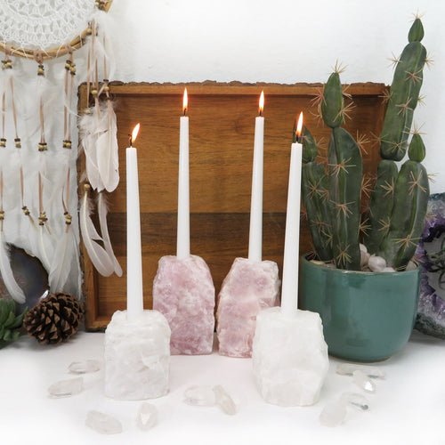 Quartz Candle Holder - Rough Natural Stone (RK901TAPER)