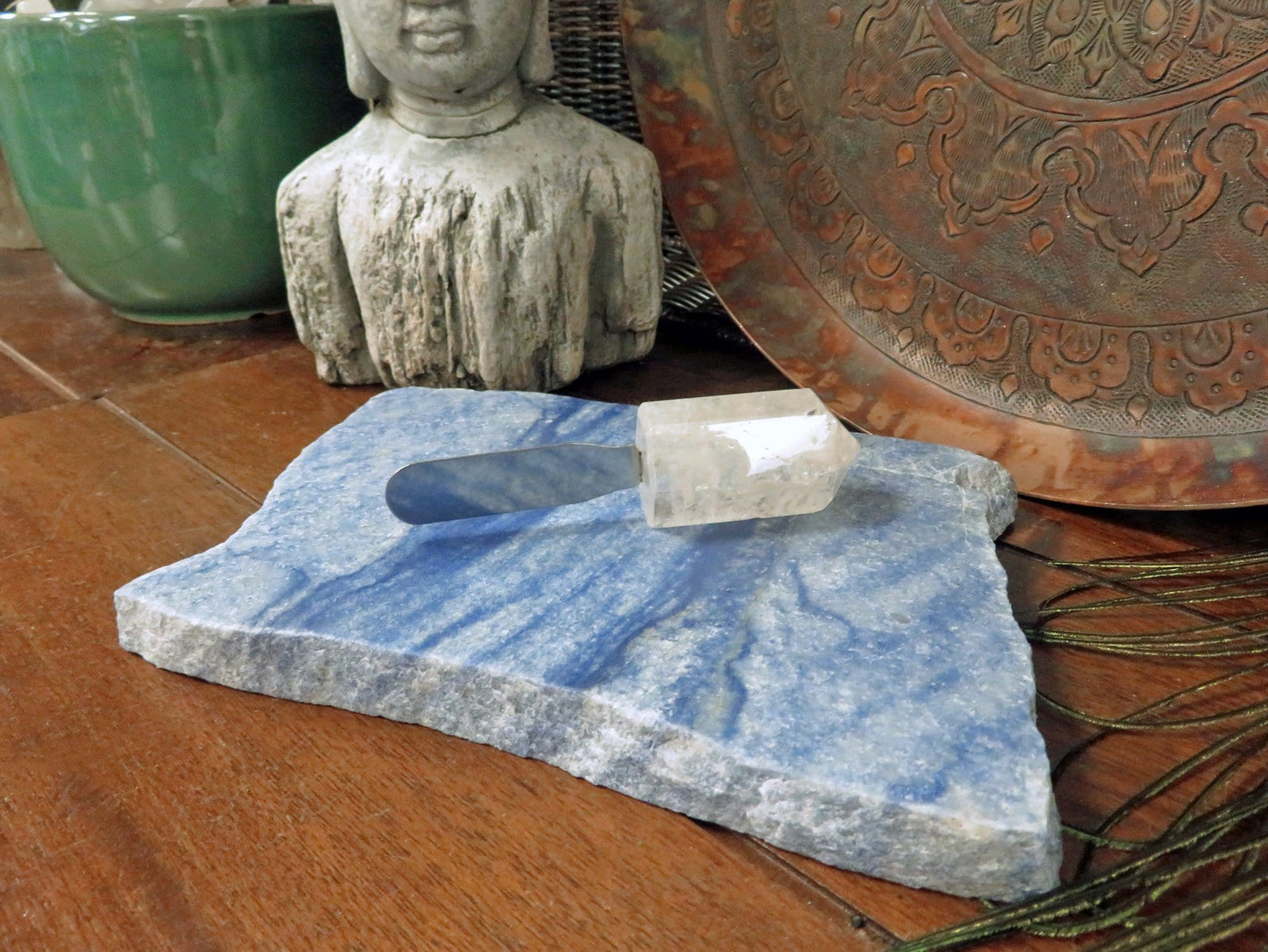 Blue Quartz Platter  - Thick Slab - Table Setting - Home Decor & Spiritual Gift - YOU CHOOSE SIZE (OB14)