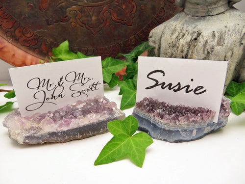 Amethyst Cluster Business Card Holder Wedding Place cards (RK119B5)