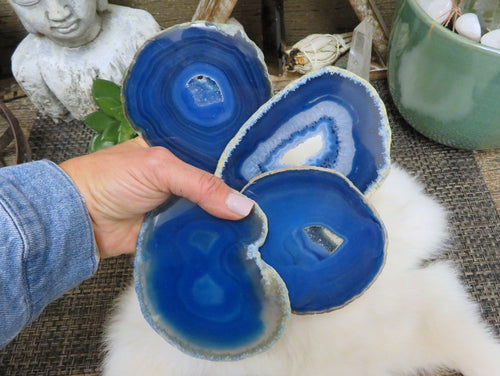 Blue Agate Slices - Dyed Blue Set of 4 - Agate Slices with Unique Markings - Coasters