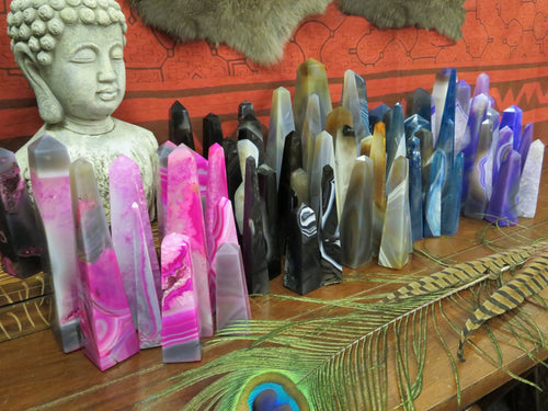 Agate Tower Point - Crystal Obelisk - YOU CHOOSE SIZE and COLOR - Crystal Grids - Energy Balancing