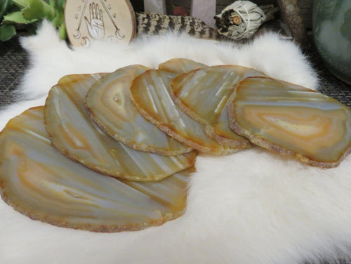Natural Agate Slices -Set of 6 Natural Agate Slices from same stone - Coasters - Crystal Collection