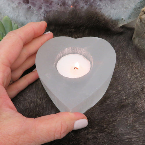Selenite Heart Shaped Candle Holders (HW4-HEART)