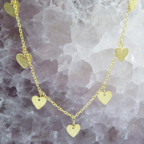 "Gold Heart Dangle Chain Necklace by Rock Paradise - ""Jewelry for Your Inner Goddess"" (CHN708)"