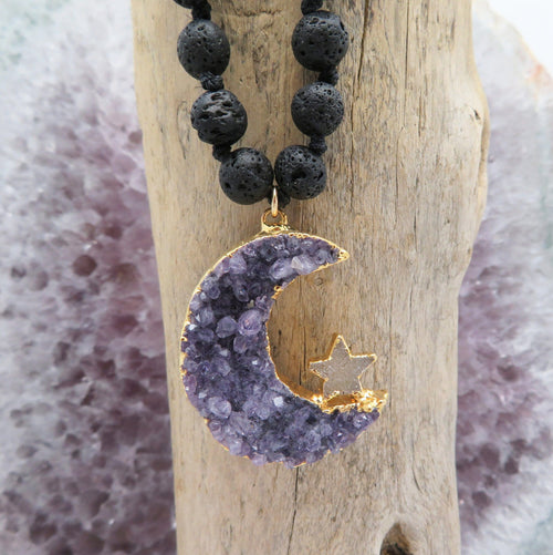 Amethyst Druzy Crescent Moon on Lava Stone Mala Necklace - Gold or Silver (DV1028)