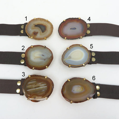 Agate Leather Belt - Brown Leather Adjustable Belt with Natural Agate Slice Buckle (WRHS2-S17B4)