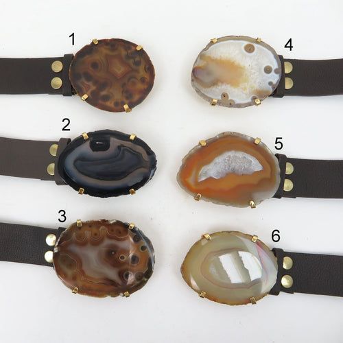 Agate Leather Belt - Brown Leather Adjustable Belt with Natural Agate Slice Buckle (WRHS2-S17B5)