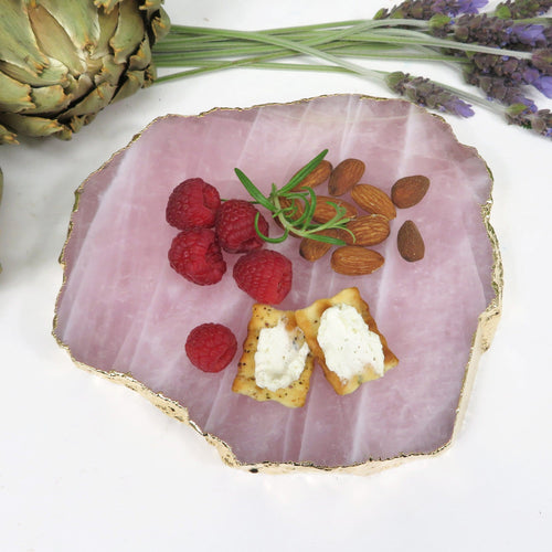 Rose Quartz Platter -Thick Stone Slice with Gold Electroplate Edge (OB13B11-08)
