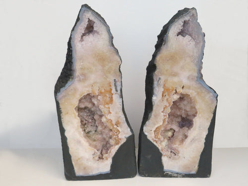 Pink Amethyst Cluster Geode Slice Set - Amethyst Pair - Amazing Home Decor