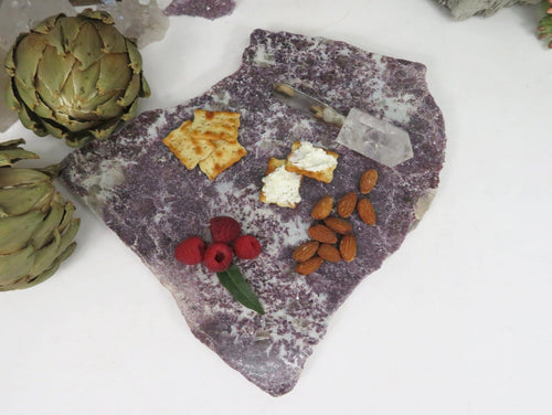 Lepidolite Platter - Purple Pink Stone Slab - Home Decor (OB16-03)