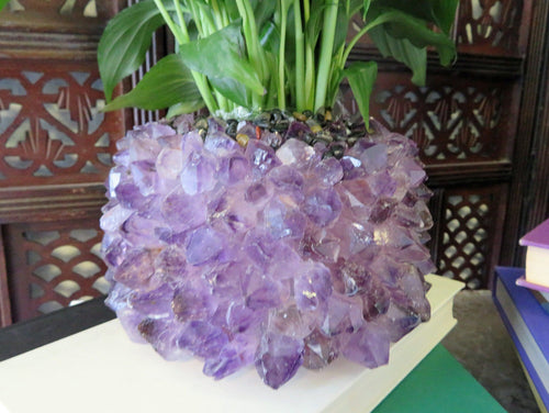 Crystal Point Plant Holder - Choose Amethyst or Crystal Quartz (HW3)