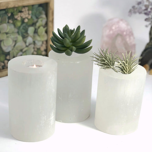 Selenite Candle Holder - Polished Sides Tall Cylinder Votive Holder (RK805B7)