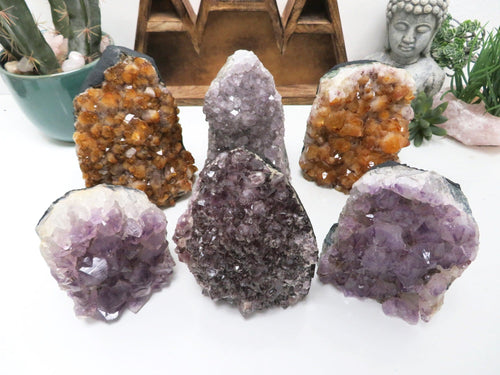 Amethyst and Citrine Cluster Geode Cut Base - Secret Money Holder ( RK1300B10)