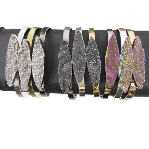 Titanium Druzy Stone Bracelet - YOU CHOOSE - Electroplated Silver, Gold or Gunmetal Finish Cuff - Marquise Cut - (BLK2)