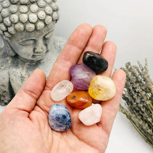 Chakra Tumbled Stones - One (1) Set of Natural 7 Chakra Polished Gemstones - (TS-129)
