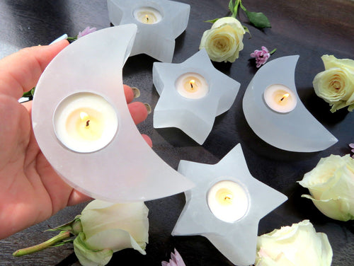 Selenite Moon Shaped Candle Holders (HW4-MOON)