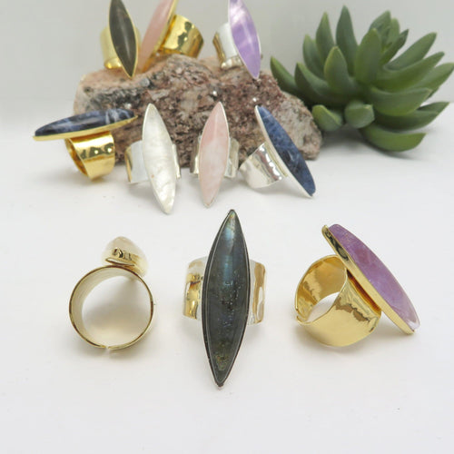 Stone Rings with Hammered Gold or Silver Adjustable Band - Marquise Shape (R1Box1)