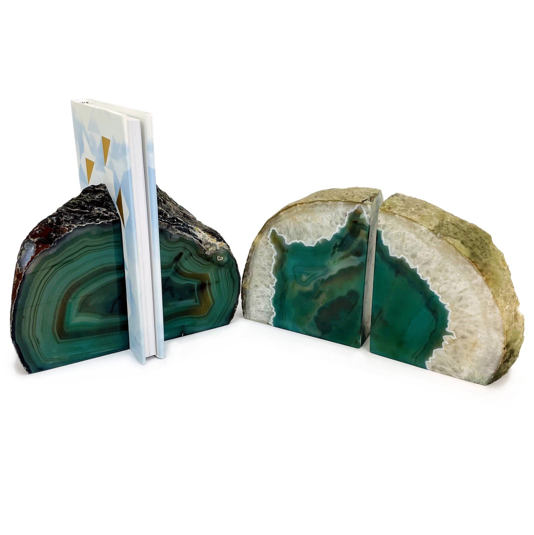 by Joyoung: 2-3 LBS//Set 1 Pair Rough//Polished Green Agate Bookend s