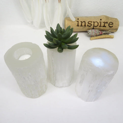 Selenite Candle Holder - Tall Cylinder Votive Holder (RK801B24)