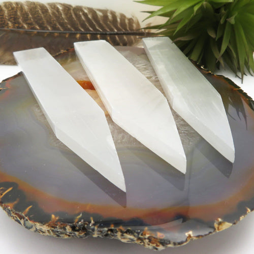 Selenite Flat Point - Stone Generator Polished Wide Point (RK900B6)