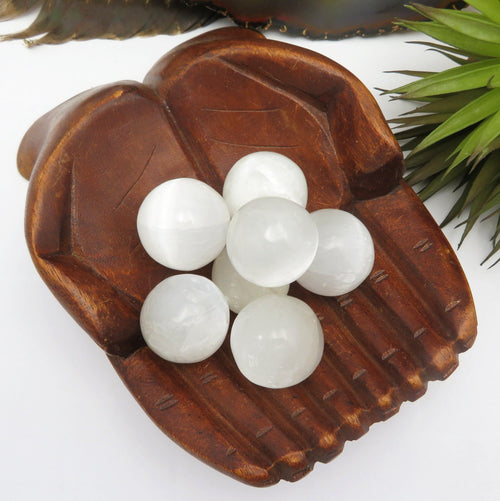 Selenite Ball - Selenite Sphere High Quality Crystal Chakra Reiki - Choose your Qty (RK900B7)