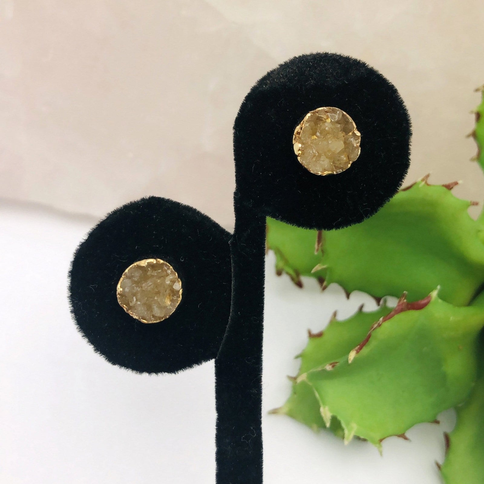 Druzy Stud Earrings in 24k Gold Electroplated - Brown Round (RK114B5-05)